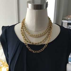 Anthropologie gold multi-chain necklace